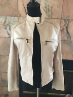 Express Women's Peach Leather Jacket Size XS