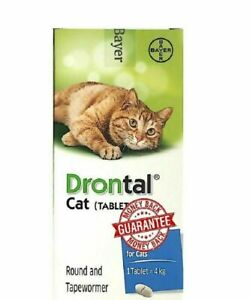 BAYER For Cats Kittens 24Tablet Dewormer Tape Hook Round Worms EXP 2023