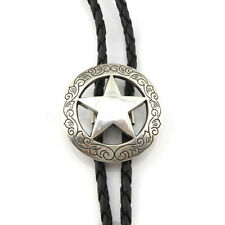 Silver Western Star Cowboy Sheriff Rodeo Bolo Tie Necktie Bootlace PU Leather UK