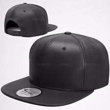 Flat Bill Premium Leather Snapback Snap Back Baseball Cap Plain Blank Hat Solid
