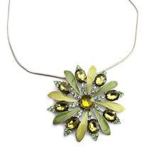 Schlangenkette, Kette, Halskette, XL Blüten Anhänger, Emaille, Stass, grün Töne
