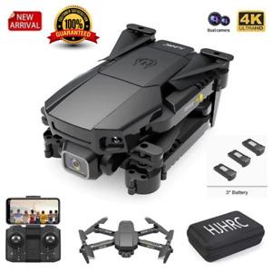 Quad air Drone HJ78 RC Drone 4k HD Wide Angle Dual Camera WIFI FPV Quadcopter+3B