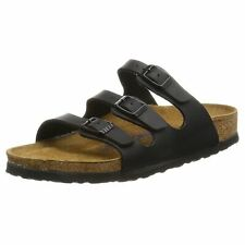 Birkenstock Florida Black Birko-Flor Womens Triple Strap Slip On Sandals