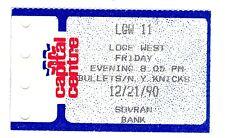 Washington Bullets vs NY Knicks December 21 1990 Vintage Ticket Stub
