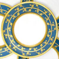 Royal Worcester Porcelain Gold Encrusted Raised Gilt Enamel Blue Dinner Plates