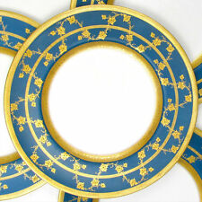 Royal Worcester Porcelain Gold Encrusted Raised Gilt Enamel Blue Dinner Plates