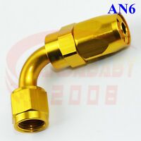 AN6 6AN -6 Swivel Oil Fuel Hose End Fitting Line Tank Elbow Adaptor 90 Deg Gold