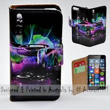 Wallet Phone Case Flip Cover for Microsoft Nokia Lumia 640 Neon Racing Car Theme