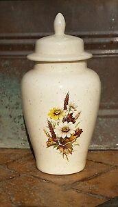 "Spiced Cream Floral Ginger Jar by Lynne - 12"" Tall"