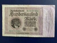 GERMANY - 100 000 MARK 1923 -   VERY FINE-LARGE BANKNOTE