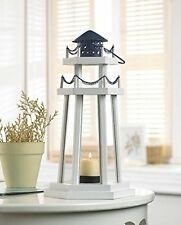1 X Nautical Light Decorative Clear Glass Wooden Lighthouse Candle Lantern New