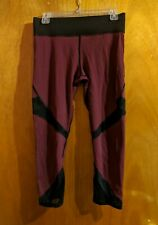 Michi Leggings L Burgundy Maroon High Waist Cropped Mesh Illusion Made in Canada