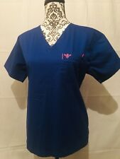 Med Couture Women's Royal Blue with Passion Pink One Pocket Scrub Top Size M **