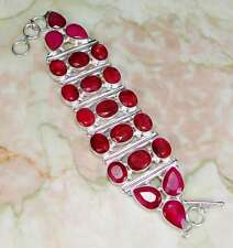 """HUGE SILVER GIGANTIC NATURAL CHERRY RUBY  BRACELET 9"""" GORGEOUSE 3 ROWS OF RUBIES"""