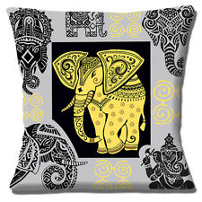 Indian Elephant Cushion Cover 16x16 inch 40cm Ethnic Henna Designs Grey Taupe