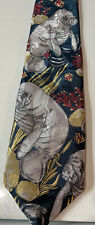 New listing 100% Silk, Sea Manatee Necktie, Blue Silver , Ocean , Vintage, Classic 57�