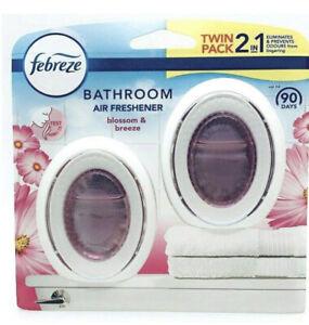 Twin Pack Febreze Bathroom 2 In 1 Air Freshener Blossom & Breeze