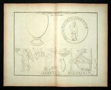 VASO DI'ALABASTRO E DECORAZIONE ROMANO incisione MONTFAUCON 1719