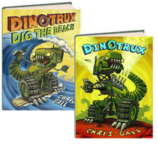 Dinotrux & Dinotrux Dig the Beach by Chris Gall (2 Hardcover Book Set)