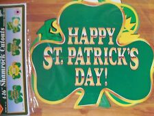 "16"" Shamrocks St Patrick Diecut Cutouts 1995 Beistle Four Pack of Decoration Nos"