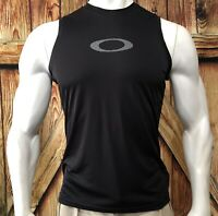 Oakley Men's Medium Tanktop Tshirt Black Polyester Gym Run Casual Beach
