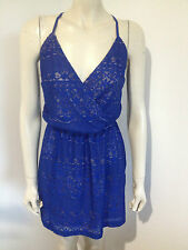 Angel Biba Blue Lace Spaghetti Strap Mini Dress Size 8