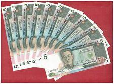 1985-94 ( ND ) PHILIPPINES 5 peso Aquino & Fernandez 10 pcs Banknote P168b UNC