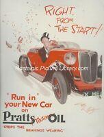 ORIGINAL ADVERTISING   1930'S PRATTS MOTOR OIL