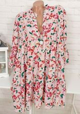 Oversize Blusenkleid Tunika Kleid Blumen Blogger Rosen Rosa Geblümt 38 40 42