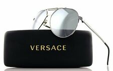 NEW Authentic VERSACE Silver Black Aviator Mirrored Sunglasses VE 2155 1001 / 6G