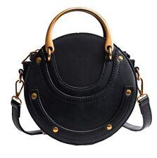 Fashion retro vintage round scrub calfskin leather metal ring pursetote handbag