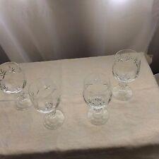 Vintage Bohemia Crystal ball stem wine goblets x 4