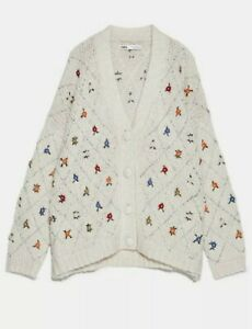 NEW ZARA LIMITED EDITION EMBROIDERED OVERSIZED CARDIGAN SEQUIN & PEARLS SIZE S