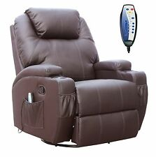 FoxHunter Brown Bonded Leather Massage Cinema Recliner Sofa Chair Swivel Rocking