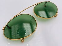 Vintage American Optical Gold Metal Oval Clips Clip-On Sunglasses Frames