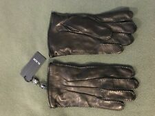 NWT PAL ZILERI, LEATHER SHEEPSKIN GLOVES, BLACK, LINED, LARGE