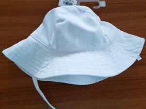 Old Navy Girls 6-12 12-24 4T-5T Sun Hat WHITE Chin Strap Wide Brim Beach #37319