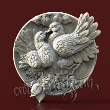 3D Model STL CNC Router Artcam Aspire Dove Love Bird Round Panel Cut3D vcarve