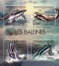 WHALES (Pygmy/Sperm/Fin/Blue) Marine Life Stamp Sheet #1 of 7 (2012 Burundi)