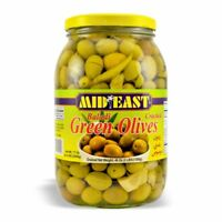 Green Cracked Olives by Mid East - Single Jar - 1,360g/48Oz