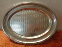 XL DDR Aluminio Servir Bandeja - Vintage - Alrededor De 1970 - Ondas Diseño - 45