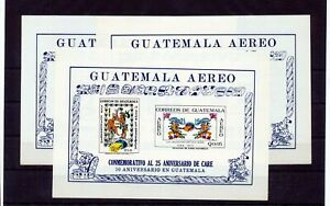 Guatemala 1971 Air Relief Art Sheets Unused x 3 (ZA 598s