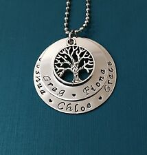 personalised hand stamped 2 tier tree of life washer necklace on 24 inch chain