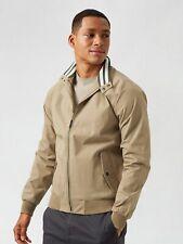 BURTON MENSWEAR LONDON Mens Brown Harrington Recycled Polyester Jacket Coat
