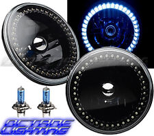 "7"" Black Halogen Headlight White LED Halo Angel Eye Headlamp 6K Light Bulb Pair"