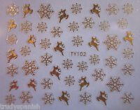 Christmas Nail Art Stickers Decals Metallic Silver Gold Snowflakes Bows (91-102)