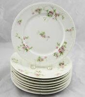 8 Charles Field Haviland GDA Limoges Luncheon Salad Plates Pink Flowers 8-1/2""