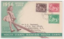 (K110-41) 1956 NZ FDC 5 1/2d apples health cover used (AP)