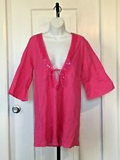 Firefly Collection Beach Cover Up Dress- Pink - Cotton - USA Size S