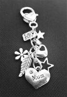 CLIP ON BAG Charms For Mum Hearts Stars Flower You Are Loved Lovely Gift